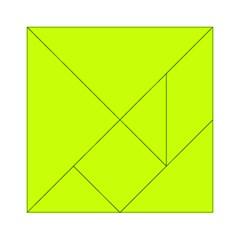 Neon Color - Luminous Vivid Lime Green Acrylic Tangram Puzzle (6  x 6 )