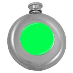 Neon Color - Luminous Vivid Malachite Green Round Hip Flask (5 oz)