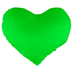 Neon Color - Luminous Vivid Malachite Green Large 19  Premium Flano Heart Shape Cushions
