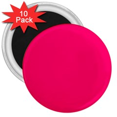 Neon Color - Luminous Vivid Raspberry 3  Magnets (10 pack)