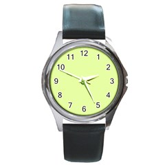 Neon Color - Pale Lime Green Round Metal Watch