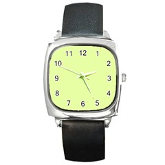 Neon Color - Pale Lime Green Square Metal Watch