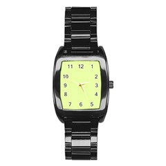 Neon Color - Pale Lime Green Stainless Steel Barrel Watch