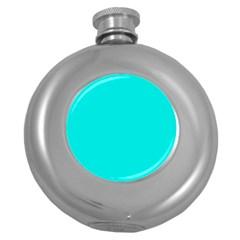 Neon Color - Vivid Cyan Round Hip Flask (5 oz)