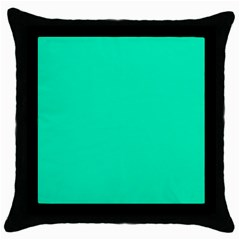 Neon Color - Vivid Turquoise Throw Pillow Case (Black)