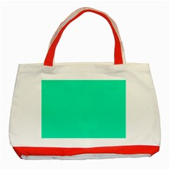 Neon Color - Vivid Turquoise Classic Tote Bag (Red)