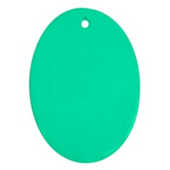 Neon Color - Vivid Turquoise Oval Ornament (Two Sides)
