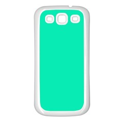 Neon Color - Vivid Turquoise Samsung Galaxy S3 Back Case (White)