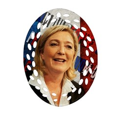 Marine Le Pen Oval Filigree Ornament (Two Sides)