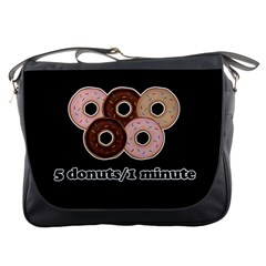 Five donuts in one minute  Messenger Bags