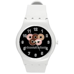 Five donuts in one minute  Round Plastic Sport Watch (M)