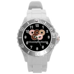 Five donuts in one minute  Round Plastic Sport Watch (L)