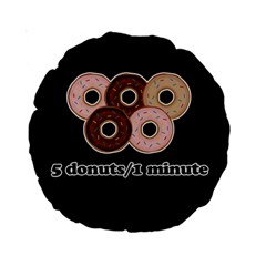 Five donuts in one minute  Standard 15  Premium Round Cushions