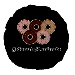 Five donuts in one minute  Large 18  Premium Round Cushions