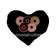 Five donuts in one minute  Standard 16  Premium Heart Shape Cushions