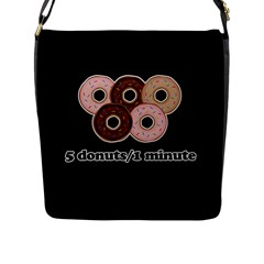 Five donuts in one minute  Flap Messenger Bag (L)
