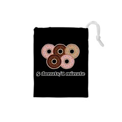 Five donuts in one minute  Drawstring Pouches (Small)