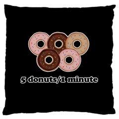 Five donuts in one minute  Large Flano Cushion Case (Two Sides)