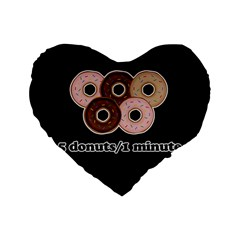 Five donuts in one minute  Standard 16  Premium Flano Heart Shape Cushions