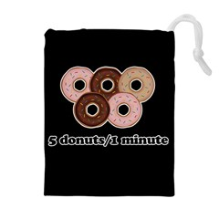 Five donuts in one minute  Drawstring Pouches (Extra Large)