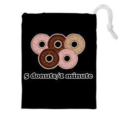 Five donuts in one minute  Drawstring Pouches (XXL)