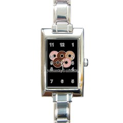 Five donuts in one minute  Rectangle Italian Charm Watch