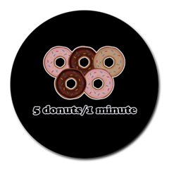 Five donuts in one minute  Round Mousepads