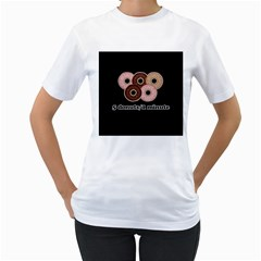 Five donuts in one minute  Women s T-Shirt (White) (Two Sided)