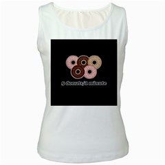 Five donuts in one minute  Women s White Tank Top
