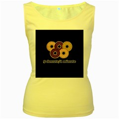 Five donuts in one minute  Women s Yellow Tank Top