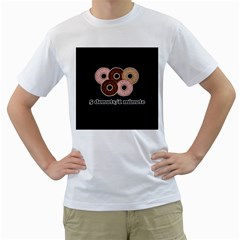 Five donuts in one minute  Men s T-Shirt (White) (Two Sided)