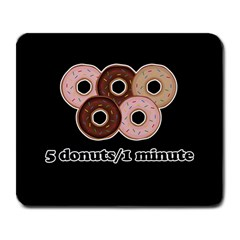 Five donuts in one minute  Large Mousepads