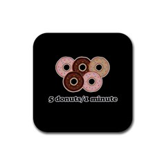 Five donuts in one minute  Rubber Square Coaster (4 pack)