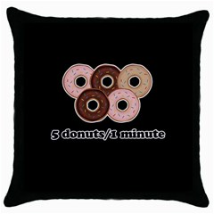 Five donuts in one minute  Throw Pillow Case (Black)