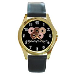 Five donuts in one minute  Round Gold Metal Watch