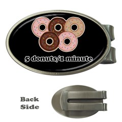 Five donuts in one minute  Money Clips (Oval)