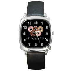 Five donuts in one minute  Square Metal Watch