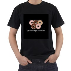Five donuts in one minute  Men s T-Shirt (Black) (Two Sided)