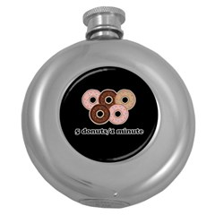Five donuts in one minute  Round Hip Flask (5 oz)