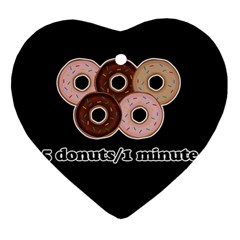Five donuts in one minute  Heart Ornament (Two Sides)