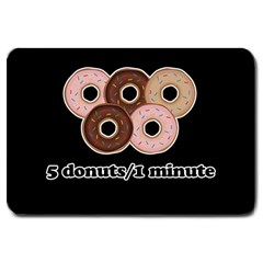 Five donuts in one minute  Large Doormat
