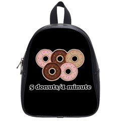Five donuts in one minute  School Bags (Small)