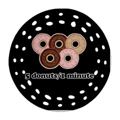 Five donuts in one minute  Round Filigree Ornament (Two Sides)