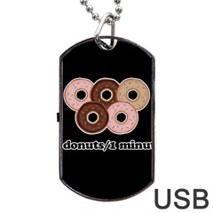 Five donuts in one minute  Dog Tag USB Flash (One Side)