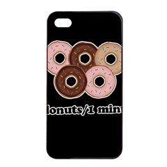 Five donuts in one minute  Apple iPhone 4/4s Seamless Case (Black)