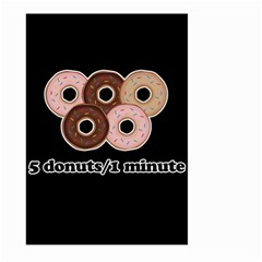 Five donuts in one minute  Large Garden Flag (Two Sides)