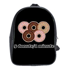 Five donuts in one minute  School Bags (XL)