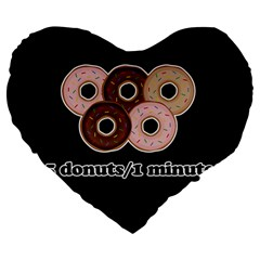 Five donuts in one minute  Large 19  Premium Heart Shape Cushions