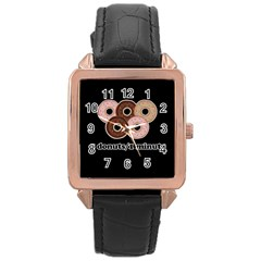 Five donuts in one minute  Rose Gold Leather Watch