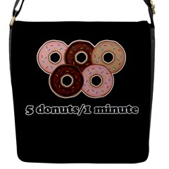 Five donuts in one minute  Flap Messenger Bag (S)